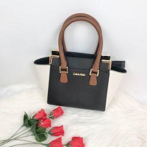 Calvin Klein Saffiano Leather Colorblock Tote OS